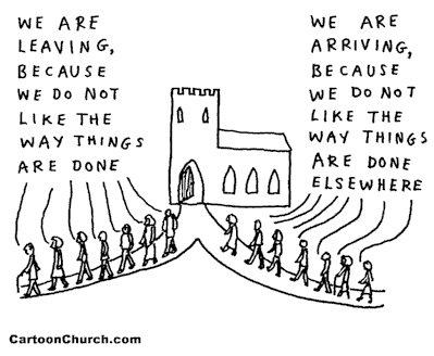 Cartoon+Leaving+Going+To+Church
